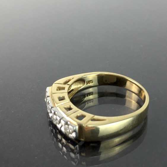 Diamond Ring, four diamonds in a row, yellow gold and white gold 585, high quality work, very good conservation. - photo 2