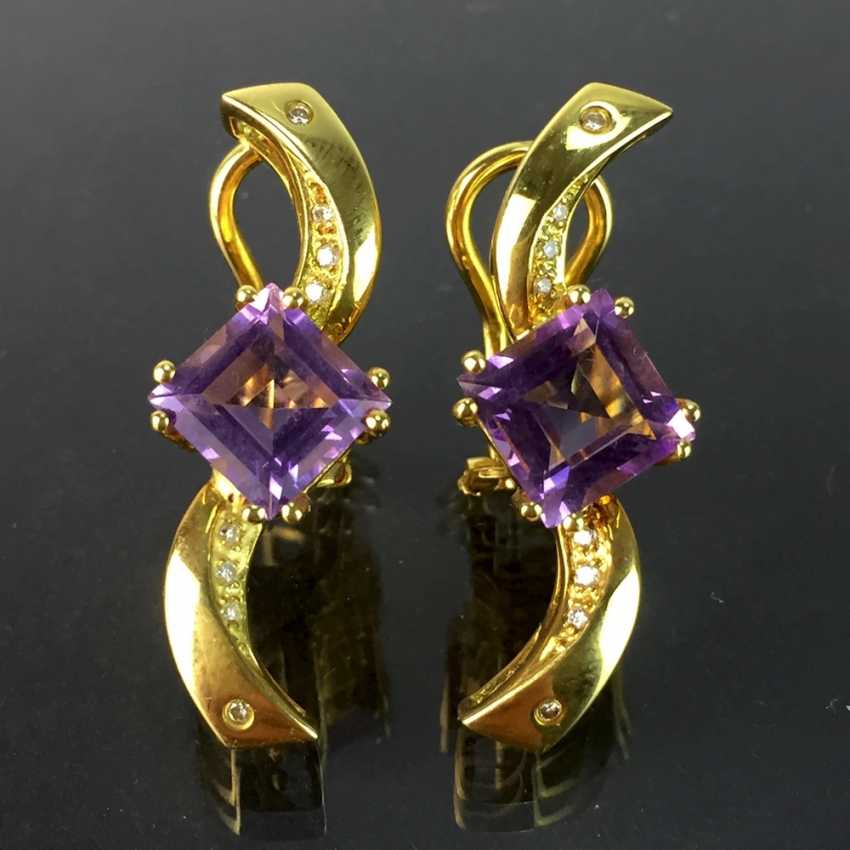 Exclusive earrings in a loop shape, yellow gold 750, diamonds, two amethysts in Carrée cut. High-Quality Work! - photo 1