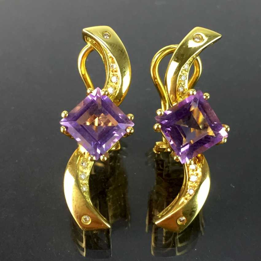 Exclusive earrings in a loop shape, yellow gold 750, diamonds, two amethysts in Carrée cut. High-Quality Work! - photo 2