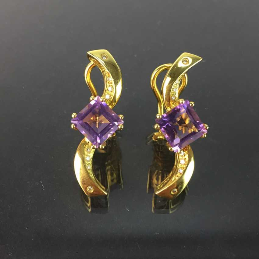 Exclusive earrings in a loop shape, yellow gold 750, diamonds, two amethysts in Carrée cut. High-Quality Work! - photo 5