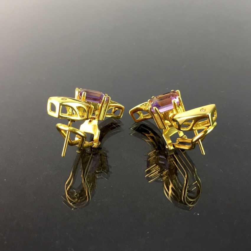 Exclusive earrings in a loop shape, yellow gold 750, diamonds, two amethysts in Carrée cut. High-Quality Work! - photo 6