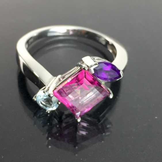 Ladies ring with shining stones: Natural spinel, Aqua Marien, Amethyst in white gold 585 rhodium-plated, very good. - photo 1