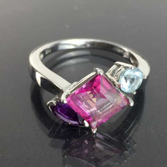 Ladies ring with shining stones: Natural spinel, Aqua Marien, Amethyst in white gold 585 rhodium-plated, very good. - photo 2