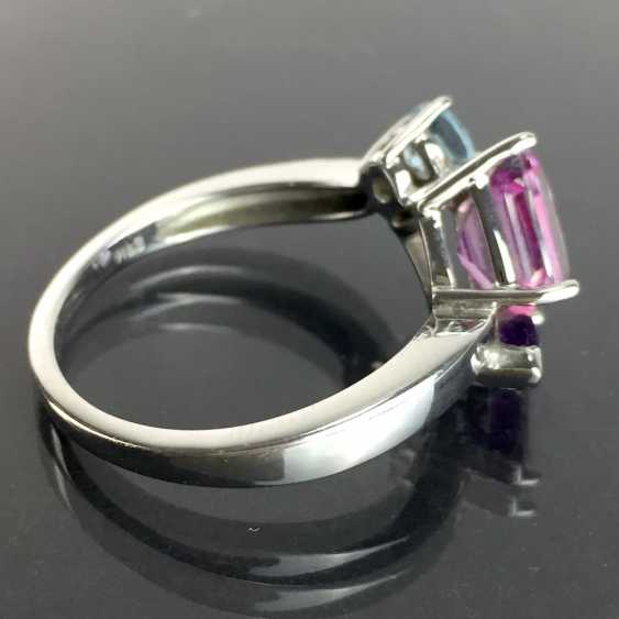 Ladies ring with shining stones: Natural spinel, Aqua Marien, Amethyst in white gold 585 rhodium-plated, very good. - photo 3