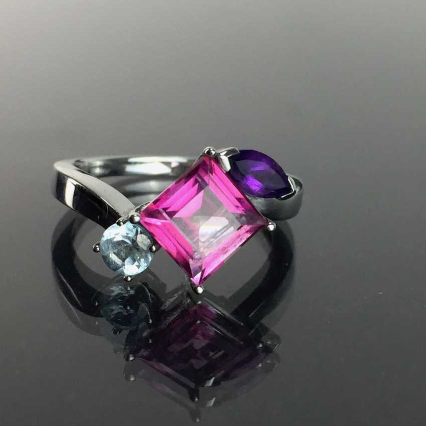 Ladies ring with shining stones: Natural spinel, Aqua Marien, Amethyst in white gold 585 rhodium-plated, very good. - photo 4