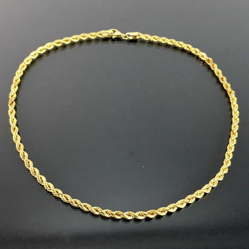 Unusual and heavy necklace: cord necklace / Rope Chain / cord band-Form / rotated shape, yellow gold 750, very good. - photo 2