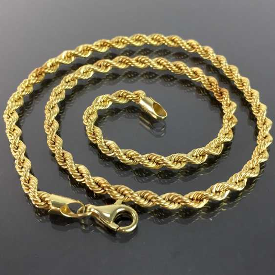 Unusual and heavy necklace: cord necklace / Rope Chain / cord band-Form / rotated shape, yellow gold 750, very good. - photo 4