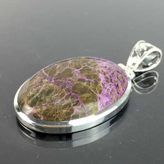 Klassischer Anhänger mit seltenem Stein: lanGelbgoldestreckte Form mit schönem Variscite / Variszit in braun-violett, Silber - photo 1