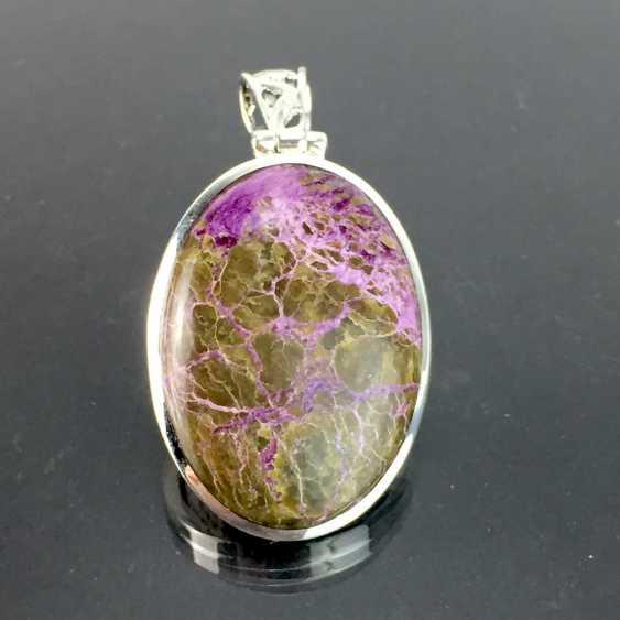 Klassischer Anhänger mit seltenem Stein: lanGelbgoldestreckte Form mit schönem Variscite / Variszit in braun-violett, Silber - photo 2