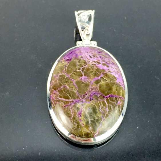 Klassischer Anhänger mit seltenem Stein: lanGelbgoldestreckte Form mit schönem Variscite / Variszit in braun-violett, Silber - photo 3