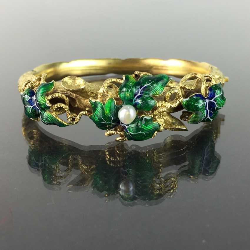Exceptional historicism-bracelets: yellow gold 585, as a Branch with branches and leaves worked, enamel surfaces, 1860! - photo 1