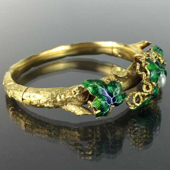 Exceptional historicism-bracelets: yellow gold 585, as a Branch with branches and leaves worked, enamel surfaces, 1860! - photo 3
