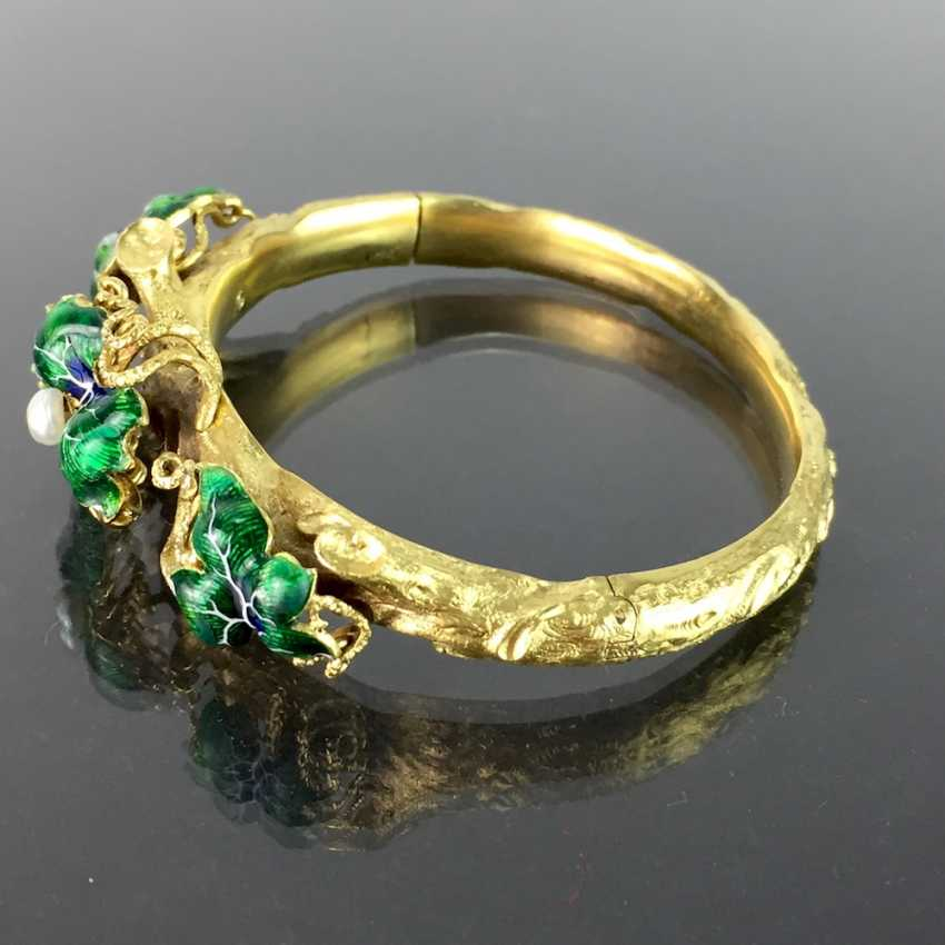 Exceptional historicism-bracelets: yellow gold 585, as a Branch with branches and leaves worked, enamel surfaces, 1860! - photo 4