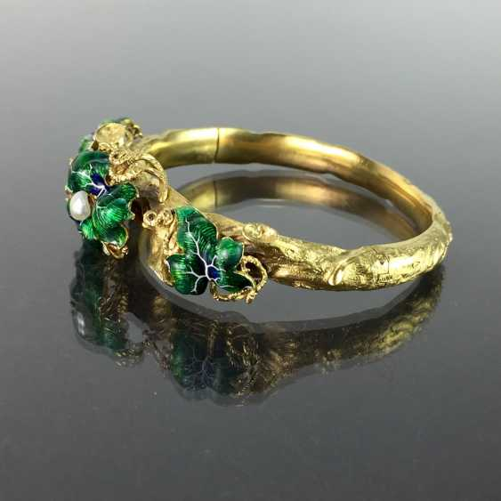 Exceptional historicism-bracelets: yellow gold 585, as a Branch with branches and leaves worked, enamel surfaces, 1860! - photo 5
