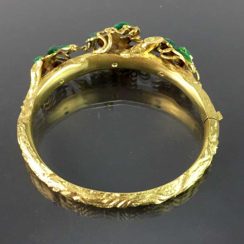 Exceptional historicism-bracelets: yellow gold 585, as a Branch with branches and leaves worked, enamel surfaces, 1860! - photo 6