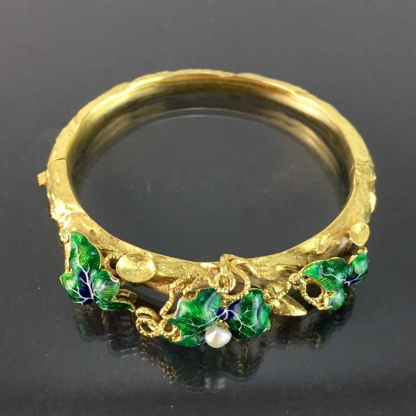 Exceptional historicism-bracelets: yellow gold 585, as a Branch with branches and leaves worked, enamel surfaces, 1860! - photo 7