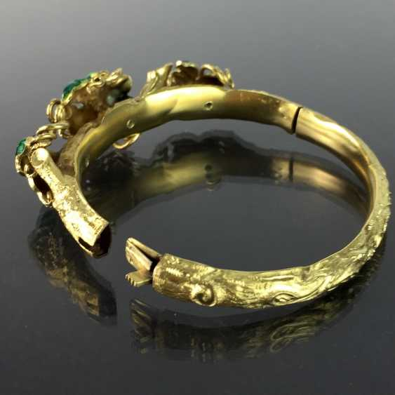 Exceptional historicism-bracelets: yellow gold 585, as a Branch with branches and leaves worked, enamel surfaces, 1860! - photo 8