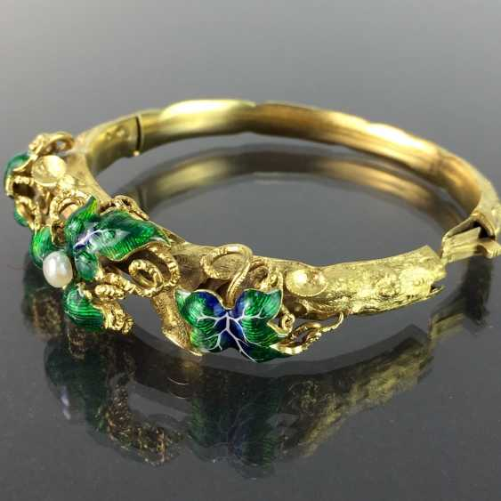 Exceptional historicism-bracelets: yellow gold 585, as a Branch with branches and leaves worked, enamel surfaces, 1860! - photo 9