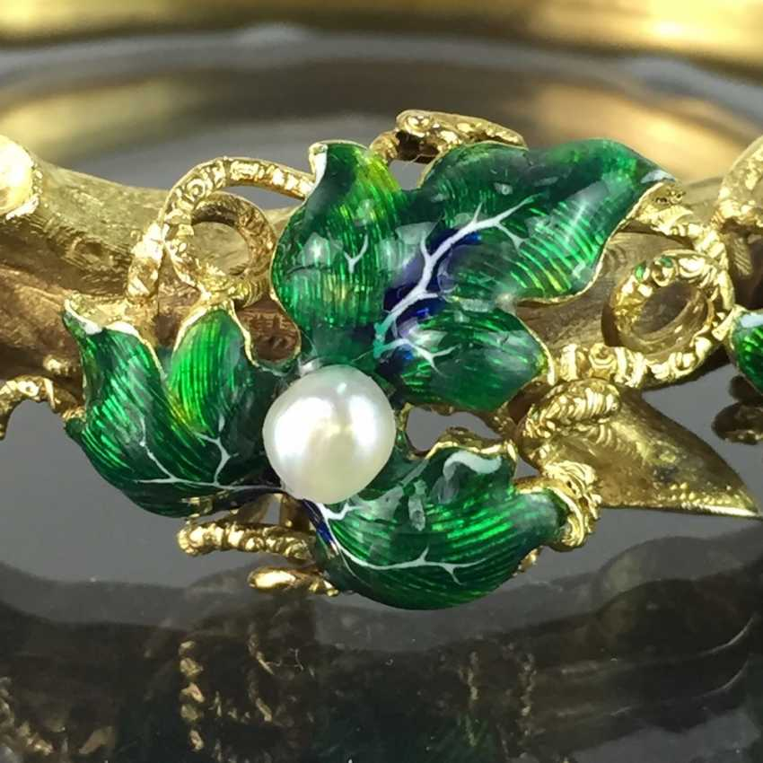 Exceptional historicism-bracelets: yellow gold 585, as a Branch with branches and leaves worked, enamel surfaces, 1860! - photo 10