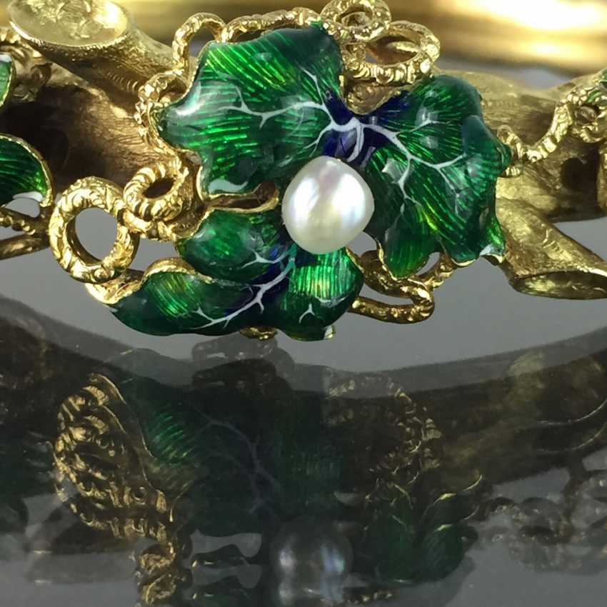 Exceptional historicism-bracelets: yellow gold 585, as a Branch with branches and leaves worked, enamel surfaces, 1860! - photo 11