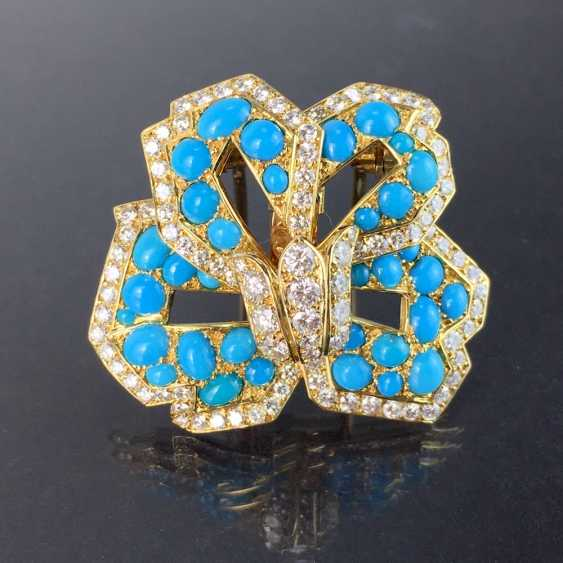 Cartier: a Sensational brooch with over 100 brilliant-cut diamonds, 35 turquoise, in yellow gold 750. Custom-made single stylized flower. - photo 2