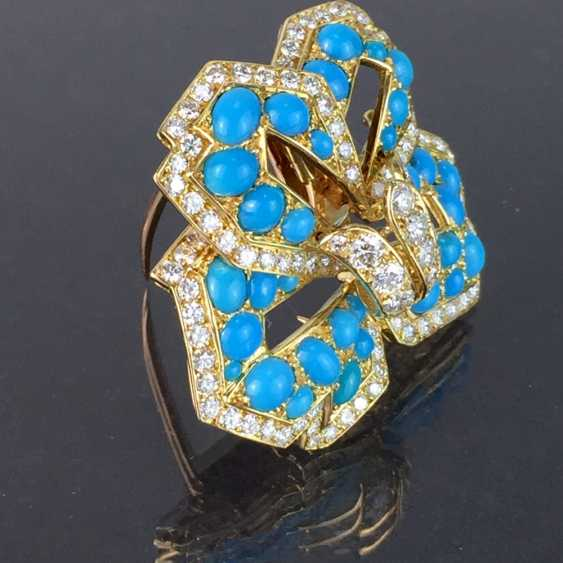 Cartier: a Sensational brooch with over 100 brilliant-cut diamonds, 35 turquoise, in yellow gold 750. Custom-made single stylized flower. - photo 6