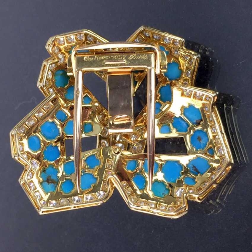 Cartier: a Sensational brooch with over 100 brilliant-cut diamonds, 35 turquoise, in yellow gold 750. Custom-made single stylized flower. - photo 9