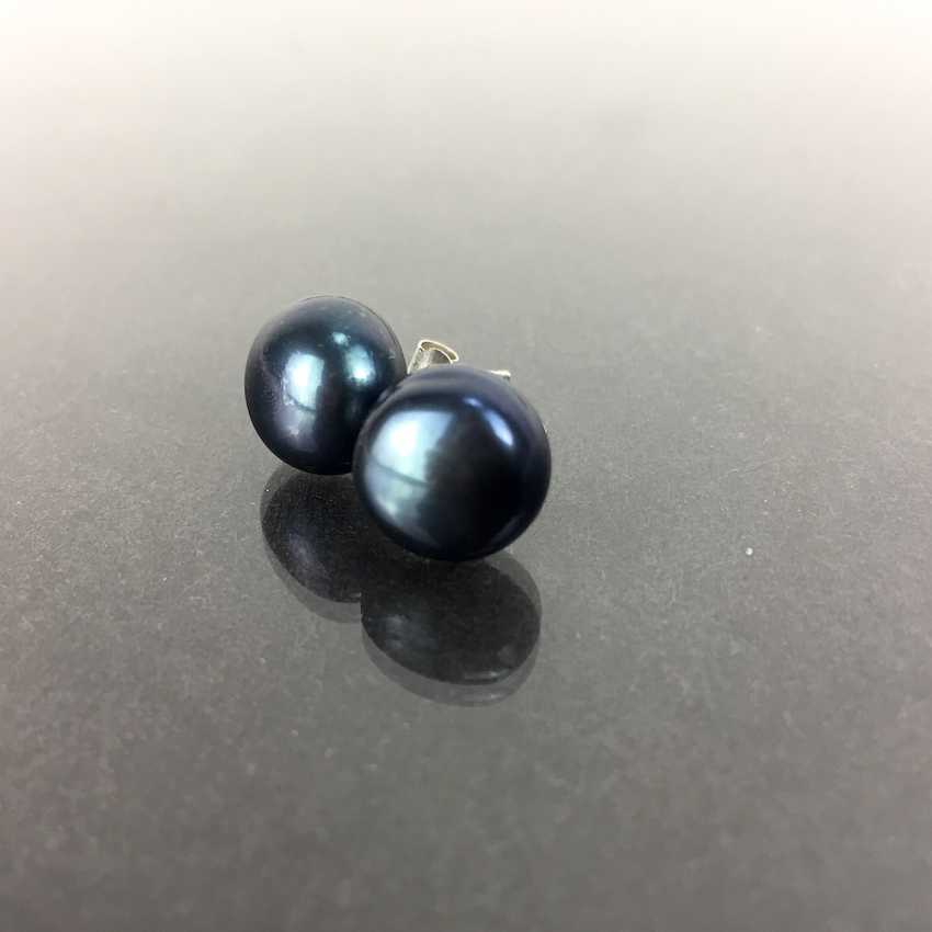 Large pearl stud earrings with large black pearl, silver 925 - photo 1