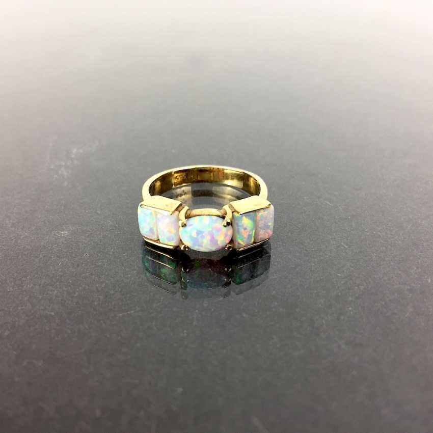 Fancy ladies ring Gold 585, lush with Opal occupied, approx. 5 carat Opal, very good! - photo 1