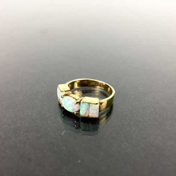 Fancy ladies ring Gold 585, lush with Opal occupied, approx. 5 carat Opal, very good! - photo 2