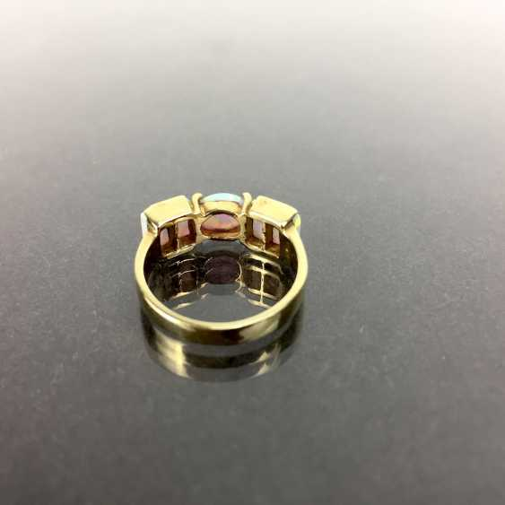 Fancy ladies ring Gold 585, lush with Opal occupied, approx. 5 carat Opal, very good! - photo 3