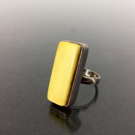 Designer Ring: white amber, silver 925, Art Deco, very good. - photo 1
