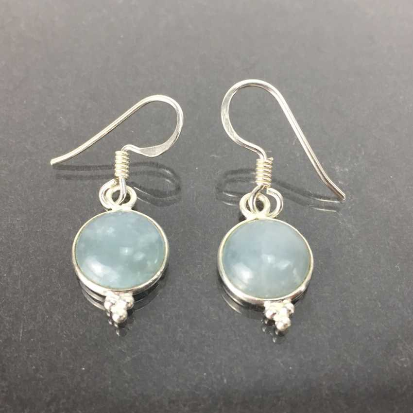 Earrings: moonstone, 925 sterling silver, new / unworn, very good. - photo 1