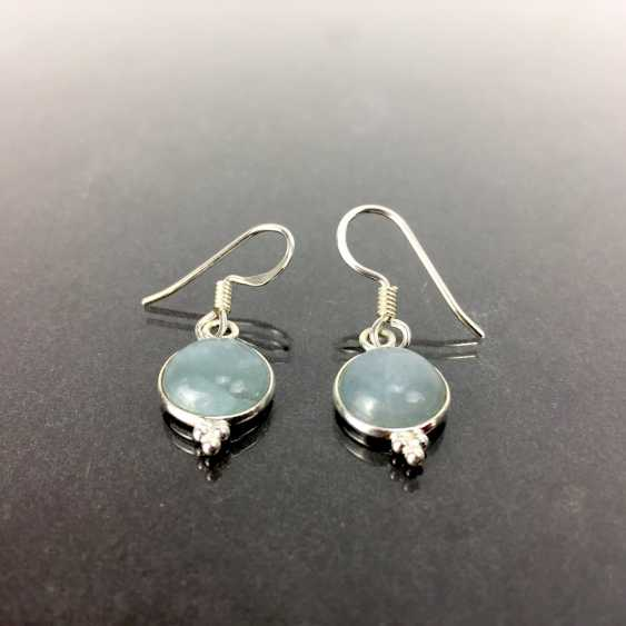 Earrings: moonstone, 925 sterling silver, new / unworn, very good. - photo 2