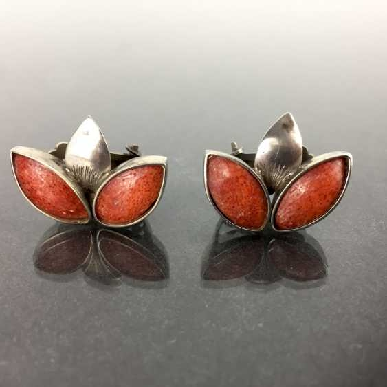 Elegant ear clips: coral, 925 silver, very good. - photo 2