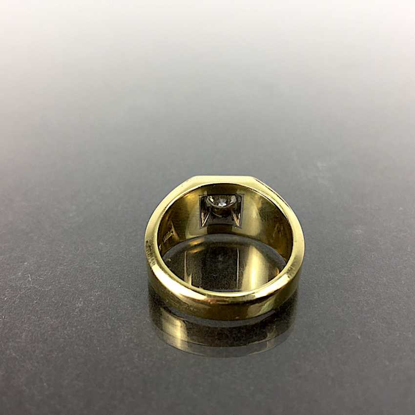 Fancy Ring is 0.8 carats, Yellow Gold / White Gold 750, very solid, brilliant solitaire, very good. - photo 4