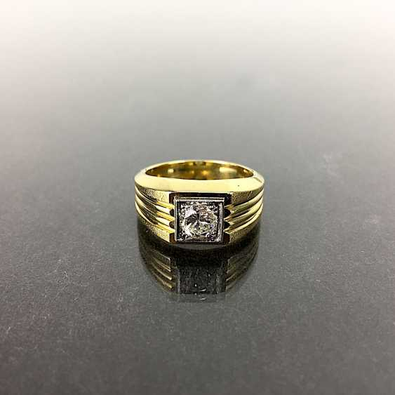 Fancy Ring is 0.8 carats, Yellow Gold / White Gold 750, very solid, brilliant solitaire, very good. - photo 6