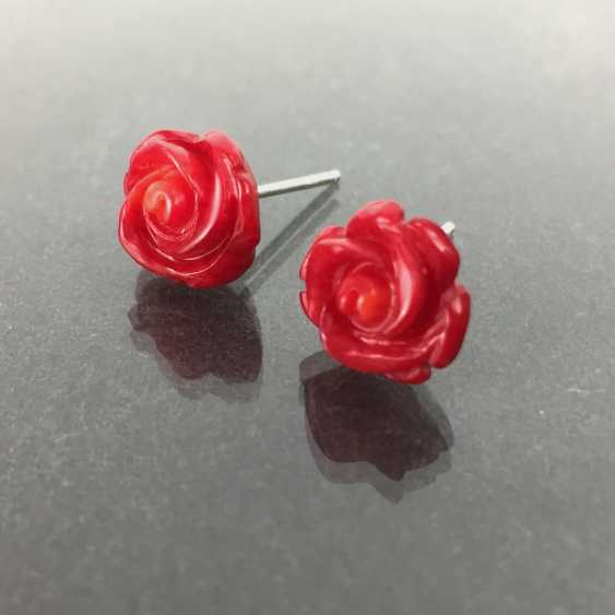 Designer earrings: coral, silver, handmade, unique, very beautiful. - photo 1