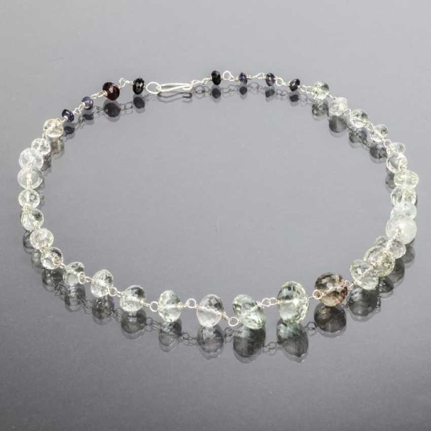 Citrine-lens necklace with garnets, silver 925 - photo 1