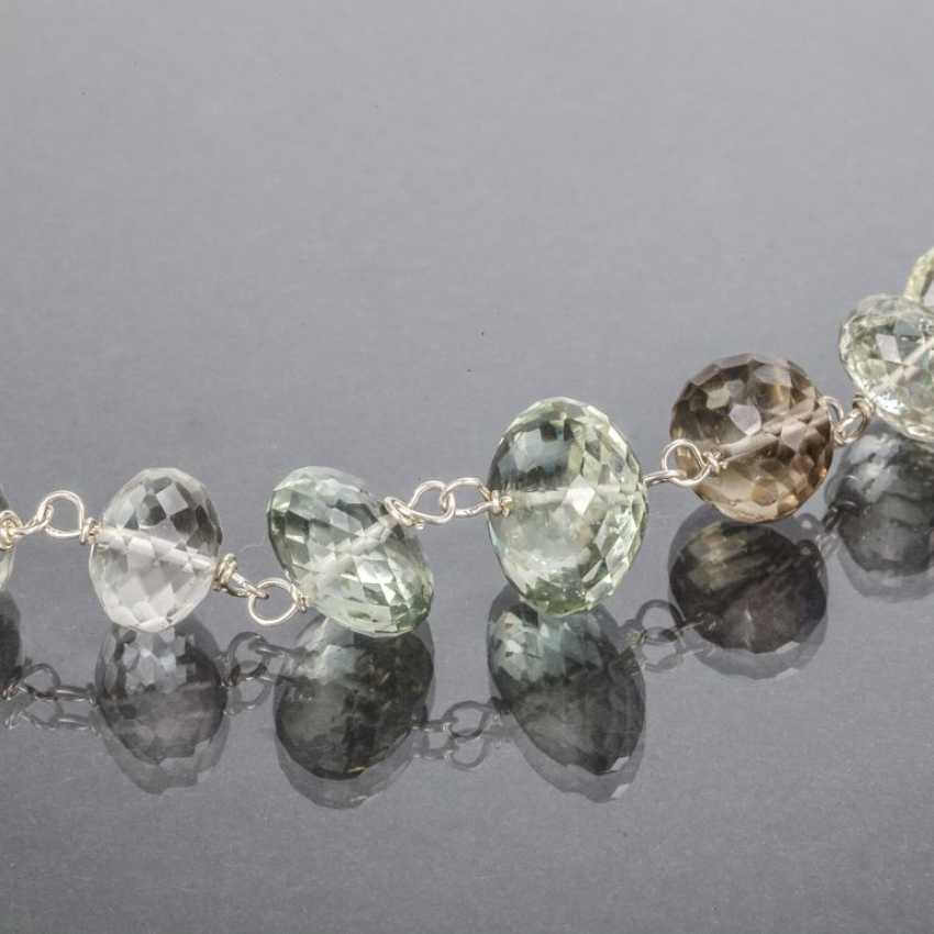 Citrine-lens necklace with garnets, silver 925 - photo 2