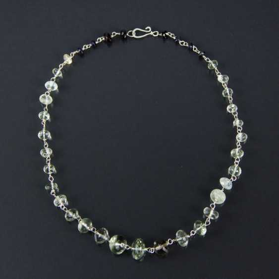 Citrine-lens necklace with garnets, silver 925 - photo 3