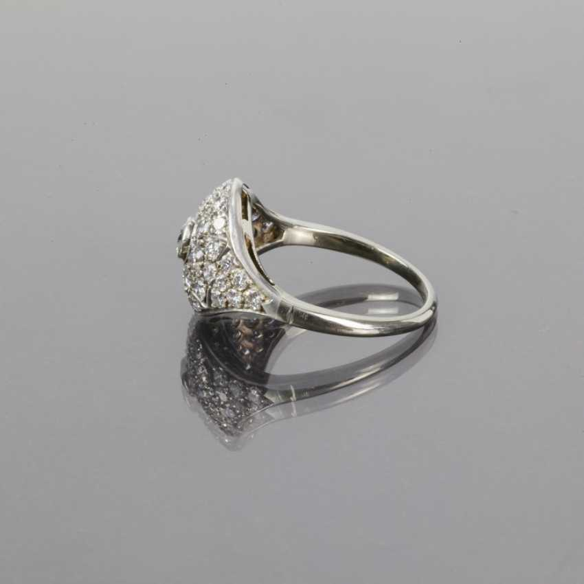 Fancy diamond Ring: 1.4 carats, Wesselton/white, cocktail ring, hand-1. Half of the 20. Century, very good. - photo 3