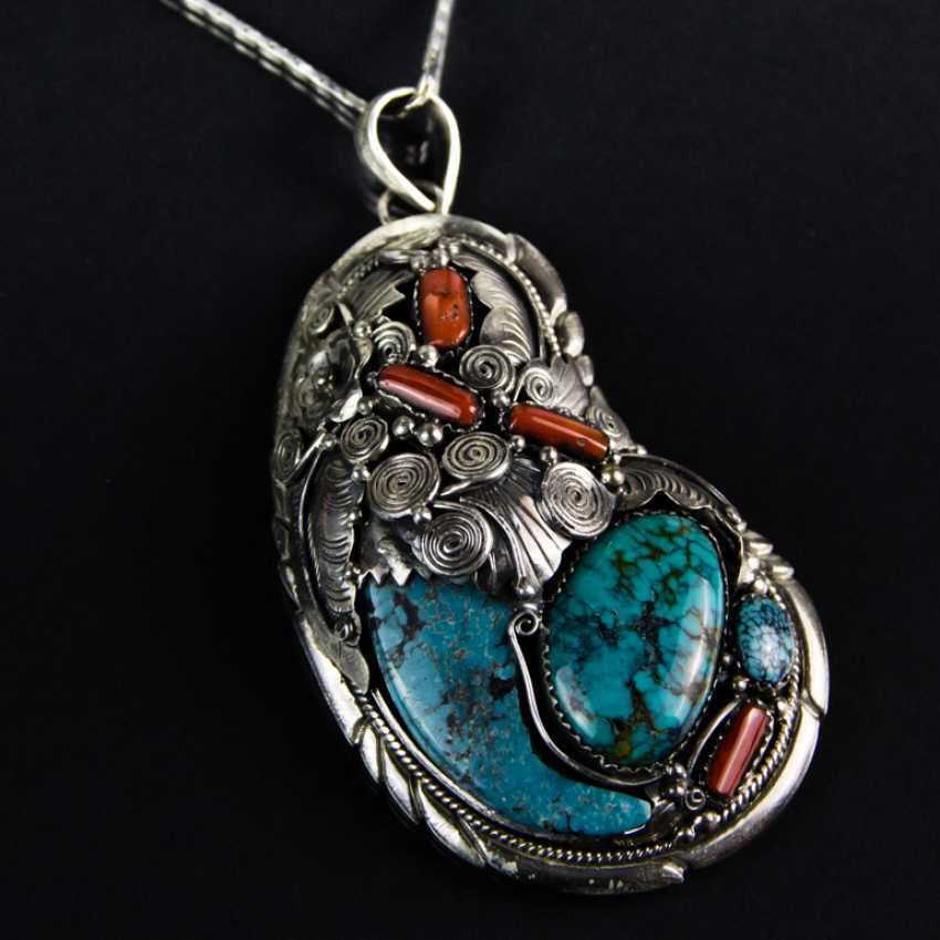 Shell pendant with turquoise and coral, silver 925 - photo 1