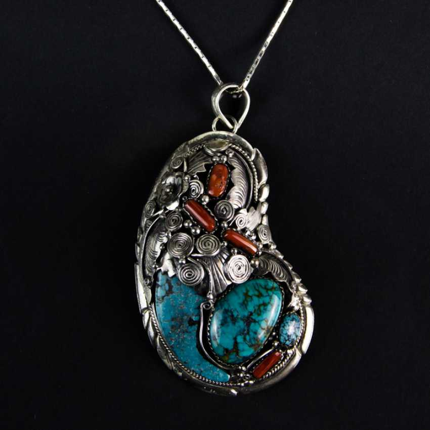 Shell pendant with turquoise and coral, silver 925 - photo 2