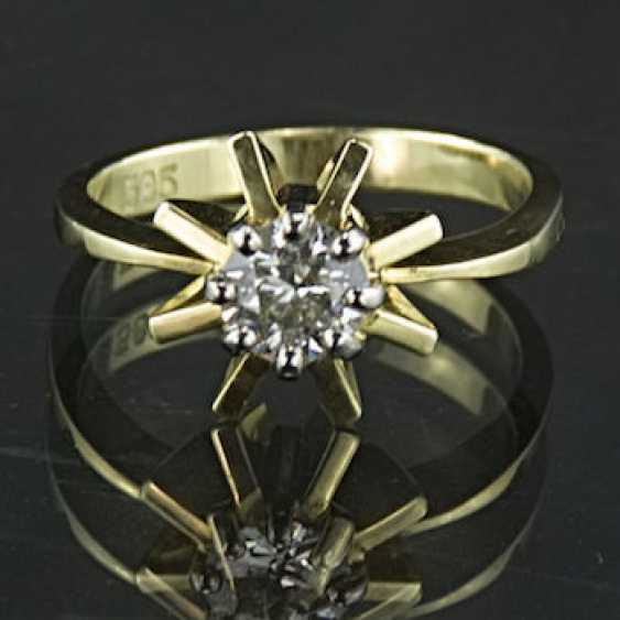 Brilliant solitaire Ring, 0.5 carats, yellow gold and white gold 585 / 14 Karat, handmade, very high quality. - photo 1