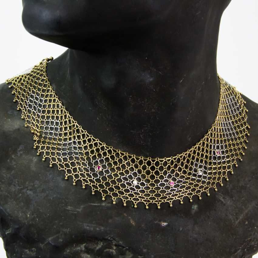 Elaborate Designer choker with diamonds and rubies, yellow gold/white gold 585, one of a kind - photo 1