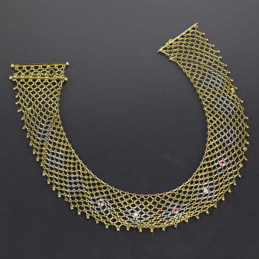 Elaborate Designer choker with diamonds and rubies, yellow gold/white gold 585, one of a kind - photo 2