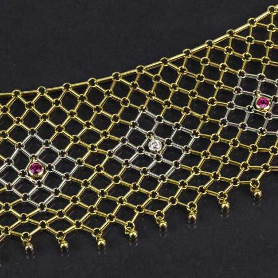 Elaborate Designer choker with diamonds and rubies, yellow gold/white gold 585, one of a kind - photo 3