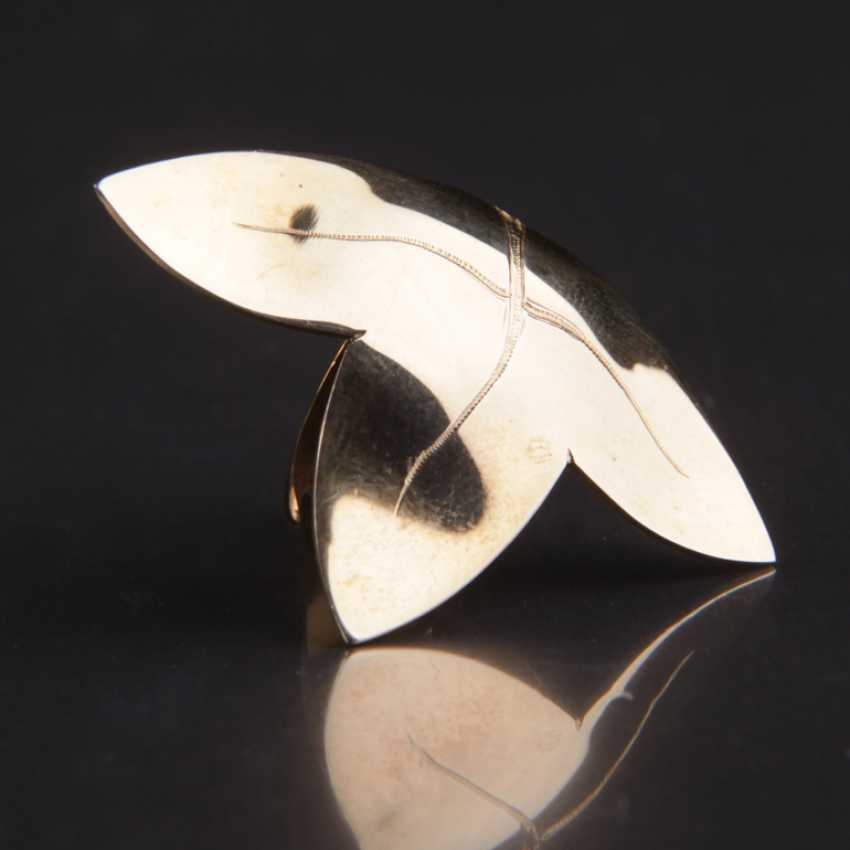 Special Hand Work Ring, Ivy Leaf, Yellow Gold 333 - photo 1