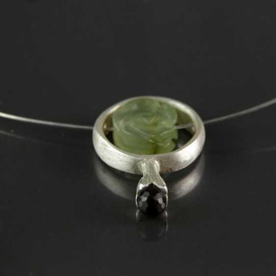 Designer Anhhänger, smoky quartz and Jade, silver 925 - photo 1